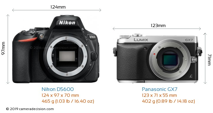 Nikon D5600 vs Panasonic GX7 Camera Size Comparison - Front View
