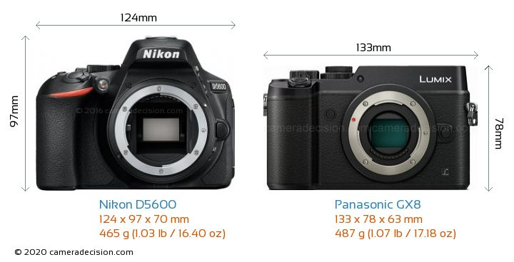 Nikon D5600 vs Panasonic GX8 Camera Size Comparison - Front View