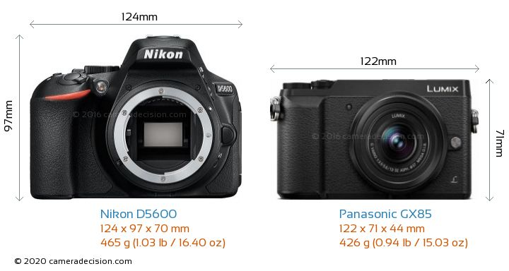 Nikon D5600 vs Panasonic GX85 Camera Size Comparison - Front View