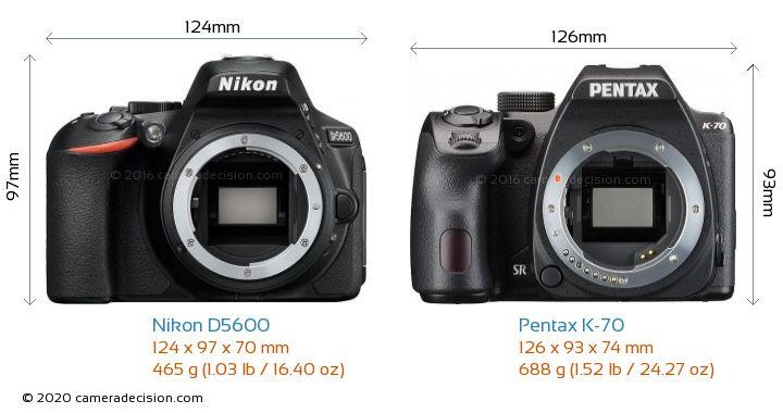 Nikon D5600 vs Pentax K-70 Camera Size Comparison - Front View