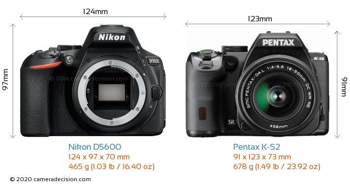 Nikon D5600 vs Pentax K-S2 Camera Size Comparison - Front View