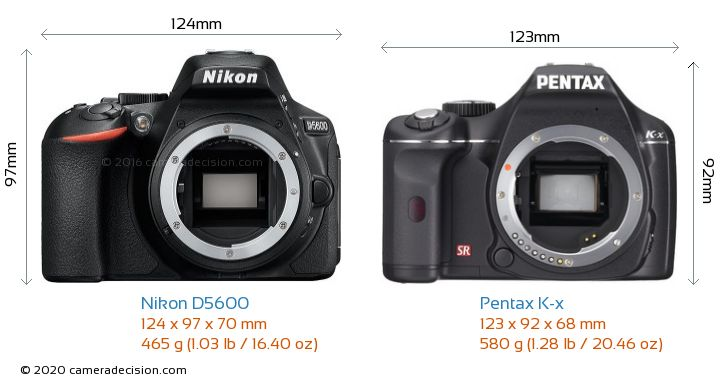 Nikon D5600 vs Pentax K-x Camera Size Comparison - Front View