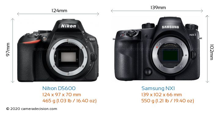 Nikon D5600 vs Samsung NX1 Camera Size Comparison - Front View