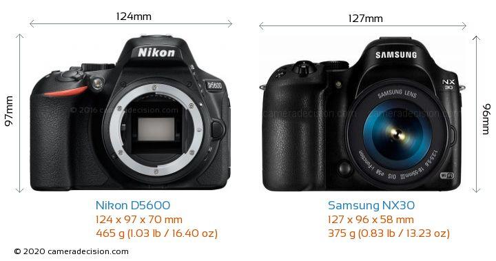 Nikon D5600 vs Samsung NX30 Camera Size Comparison - Front View