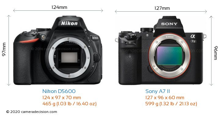 Nikon D5600 vs Sony A7 II Camera Size Comparison - Front View