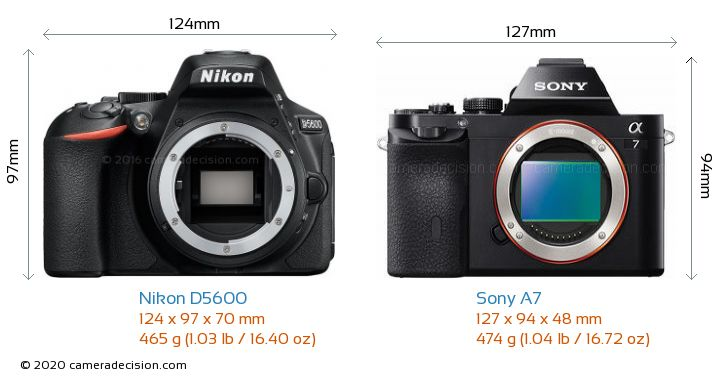 Nikon D5600 vs Sony A7 Camera Size Comparison - Front View