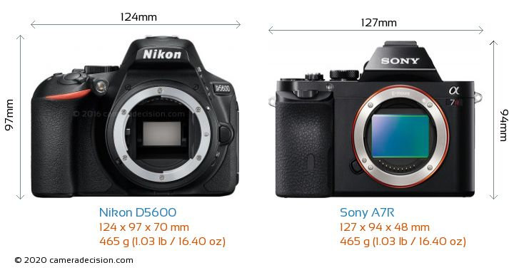 Nikon D5600 vs Sony A7R Camera Size Comparison - Front View