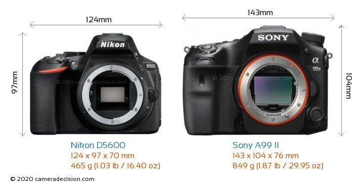 Nikon D5600 vs Sony A99 II Camera Size Comparison - Front View
