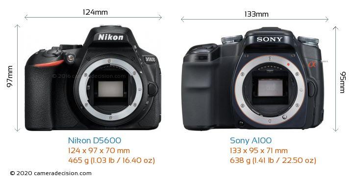 Nikon D5600 vs Sony A100 Camera Size Comparison - Front View