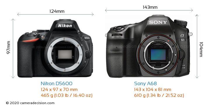 Nikon D5600 vs Sony A68 Camera Size Comparison - Front View