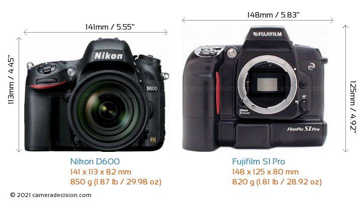 Nikon D600 vs Fujifilm S1 Pro Camera Size Comparison - Front View