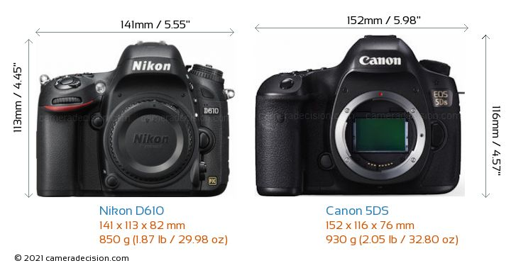 Nikon D610 vs Canon 5DS Camera Size Comparison - Front View