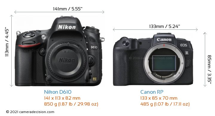 Nikon D610 vs Canon RP Camera Size Comparison - Front View