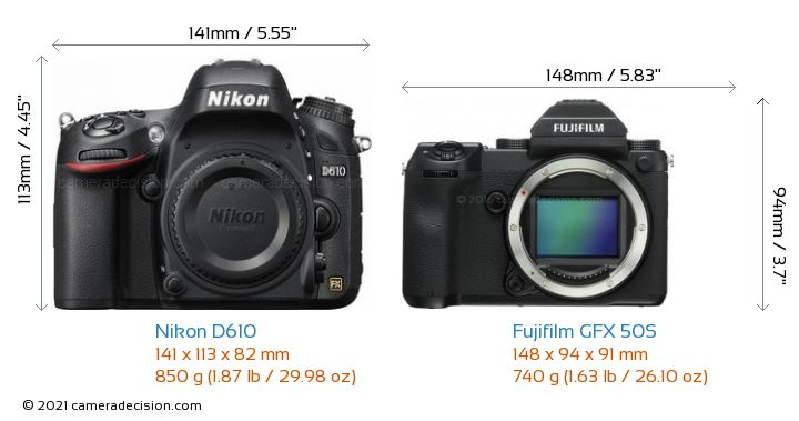 Nikon D610 vs Fujifilm GFX 50S Camera Size Comparison - Front View
