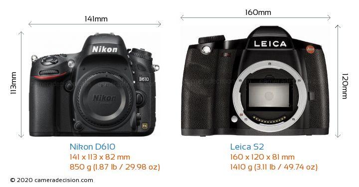 Nikon D610 vs Leica S2 Camera Size Comparison - Front View