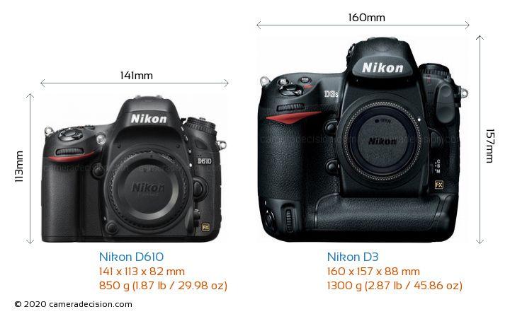 Nikon D610 vs Nikon D3 Camera Size Comparison - Front View