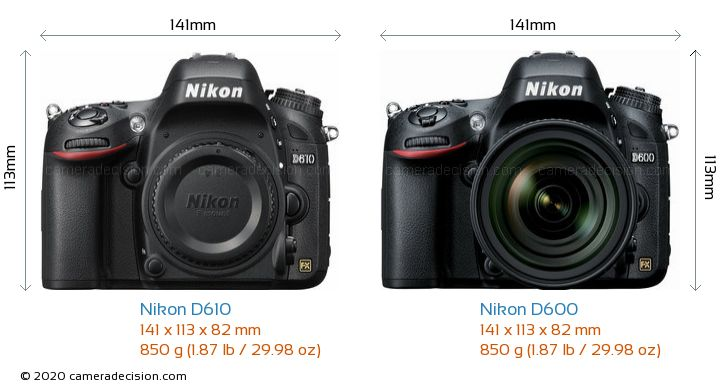 Nikon D610 vs Nikon D600 Camera Size Comparison - Front View