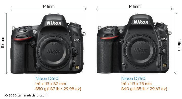 Nikon D610 vs Nikon D750 Camera Size Comparison - Front View