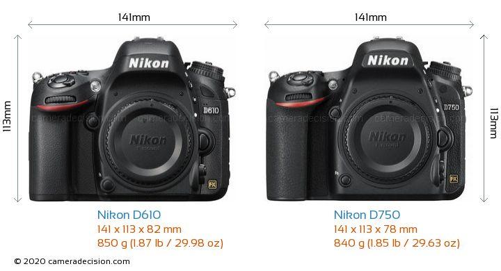 Nikon D610 vs Nikon D750 Camera Size Comparison - Front View
