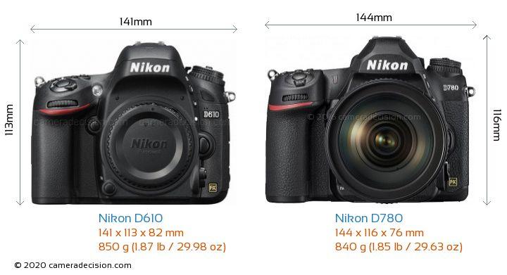 Nikon D610 vs Nikon D780 Camera Size Comparison - Front View