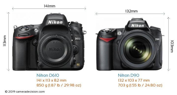 Nikon D610 vs Nikon D90 Camera Size Comparison - Front View