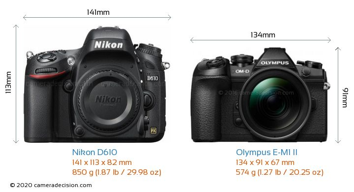 Nikon D610 vs Olympus E-M1 II Camera Size Comparison - Front View