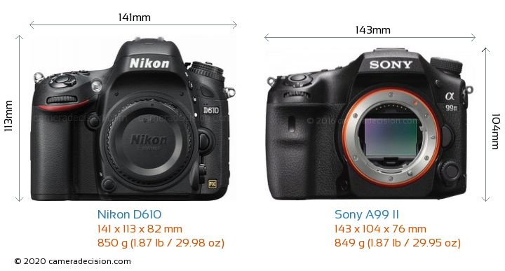 Nikon D610 vs Sony A99 II Camera Size Comparison - Front View
