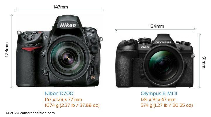 Nikon D700 vs Olympus E-M1 II Camera Size Comparison - Front View