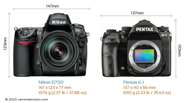 Nikon D700 vs Pentax K-1 Camera Size Comparison - Front View