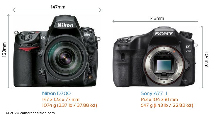 Nikon D700 vs Sony A77 II Camera Size Comparison - Front View