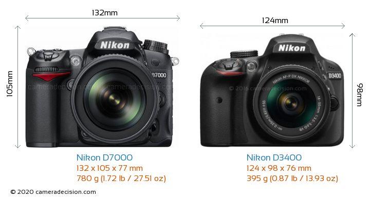 Nikon D7000 vs Nikon D3400 Camera Size Comparison - Front View