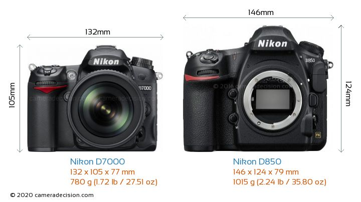 Nikon D7000 vs Nikon D850 Camera Size Comparison - Front View