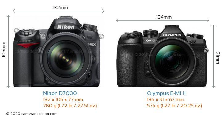 Nikon D7000 vs Olympus E-M1 II Camera Size Comparison - Front View