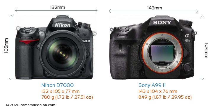 Nikon D7000 vs Sony A99 II Camera Size Comparison - Front View
