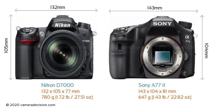 Nikon D7000 vs Sony A77 II Camera Size Comparison - Front View