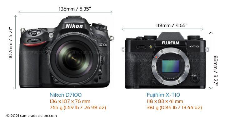 Nikon D7100 vs Fujifilm X-T10 Camera Size Comparison - Front View