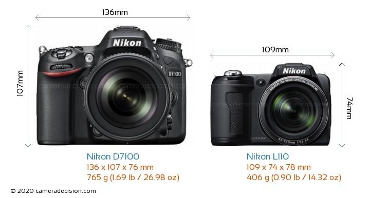 Nikon D7100 vs Nikon L110 Camera Size Comparison - Front View