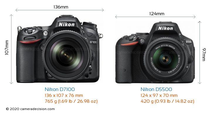 Nikon D7100 vs Nikon D5500 Camera Size Comparison - Front View