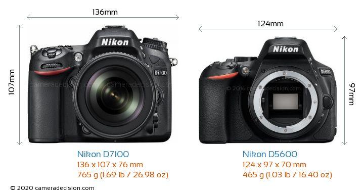 Nikon D7100 vs Nikon D5600 Camera Size Comparison - Front View