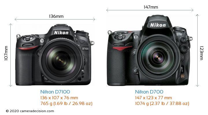 Nikon D7100 vs Nikon D700 Camera Size Comparison - Front View
