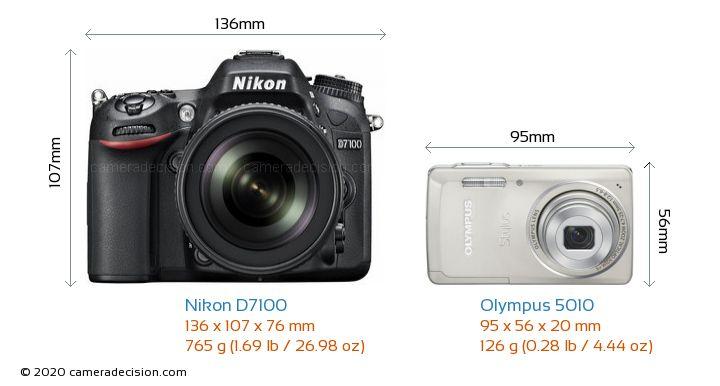 Nikon D7100 vs Olympus 5010 Camera Size Comparison - Front View