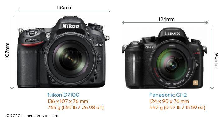 Nikon D7100 vs Panasonic GH2 Camera Size Comparison - Front View