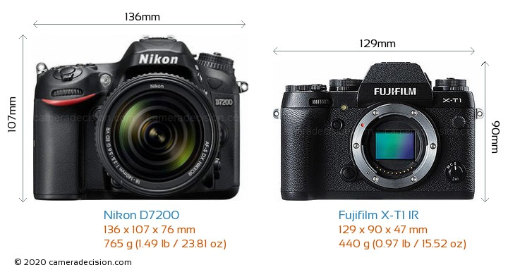 Nikon D7200 vs Fujifilm X-T1 IR Camera Size Comparison - Front View