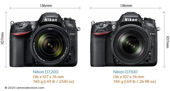 Nikon D7200 vs Nikon D7100 Camera Size Comparison - Front View