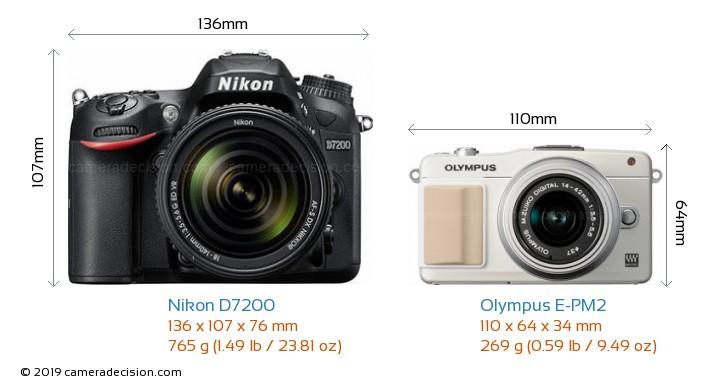 Nikon D7200 vs Olympus E-PM2 Camera Size Comparison - Front View