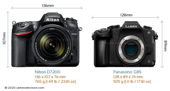 Nikon D7200 vs Panasonic G85 Camera Size Comparison - Front View