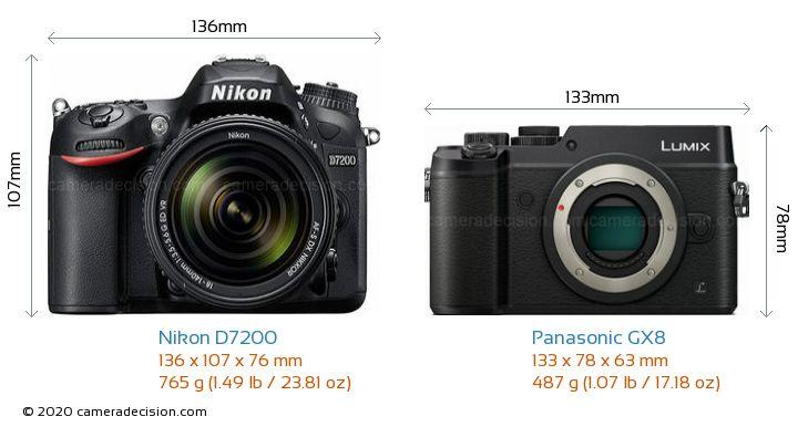 Nikon D7200 vs Panasonic GX8 Camera Size Comparison - Front View