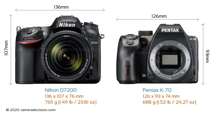 Nikon D7200 vs Pentax K-70 Camera Size Comparison - Front View