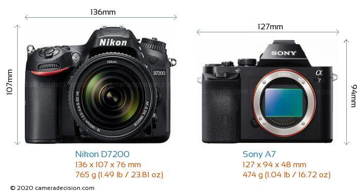 Nikon D7200 vs Sony A7 Camera Size Comparison - Front View