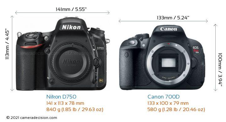 Nikon D750 vs Canon 700D Camera Size Comparison - Front View